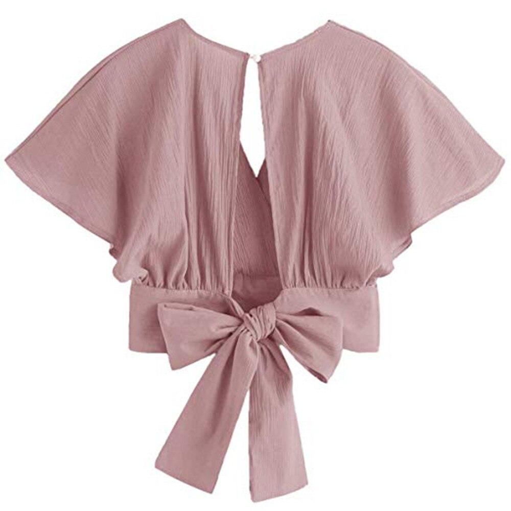 Women Ladies Bow Short Sleeve Shirt Blackless V Neck Short Tops Polyester Solid Women's Harajuku Crop top #7925 13 Online shopping Bangladesh