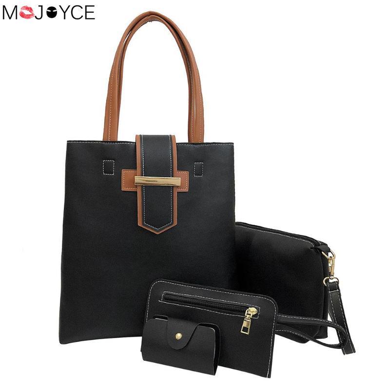 4pcs/set Fashion Handbags For Women Lady Simple Clutch Pack Mini Coin Purse Female Pu Leather Shoulder Bag Casual Crossbody Bags 100% Original Shoulder Bags