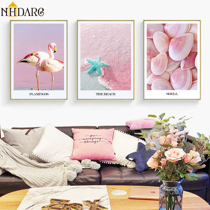 Nordic Scandinavian Pink Shells Flamingos Starfish Canvas Art Print Painting Poster Wall Pictures For Living Room Home Decor