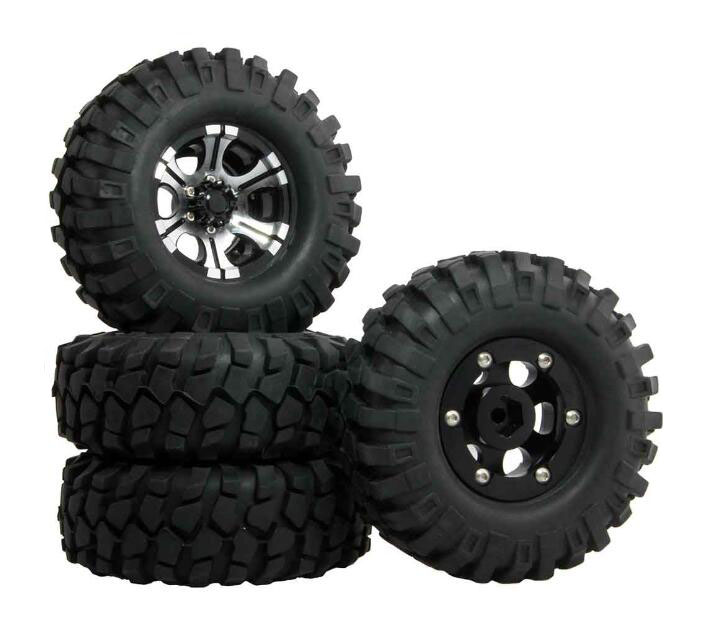 4 Pcs 1.9 inch RC Crawler Truck Tires 108mm Tire Skin+Aluminum Alloy Wheel Hubs+Foam fit for D90 F350 AXIAL SCX10 RC Crawler Car mxfans rc 1 10 2 2 crawler car inflatable tires black alloy beadlock pack of 4