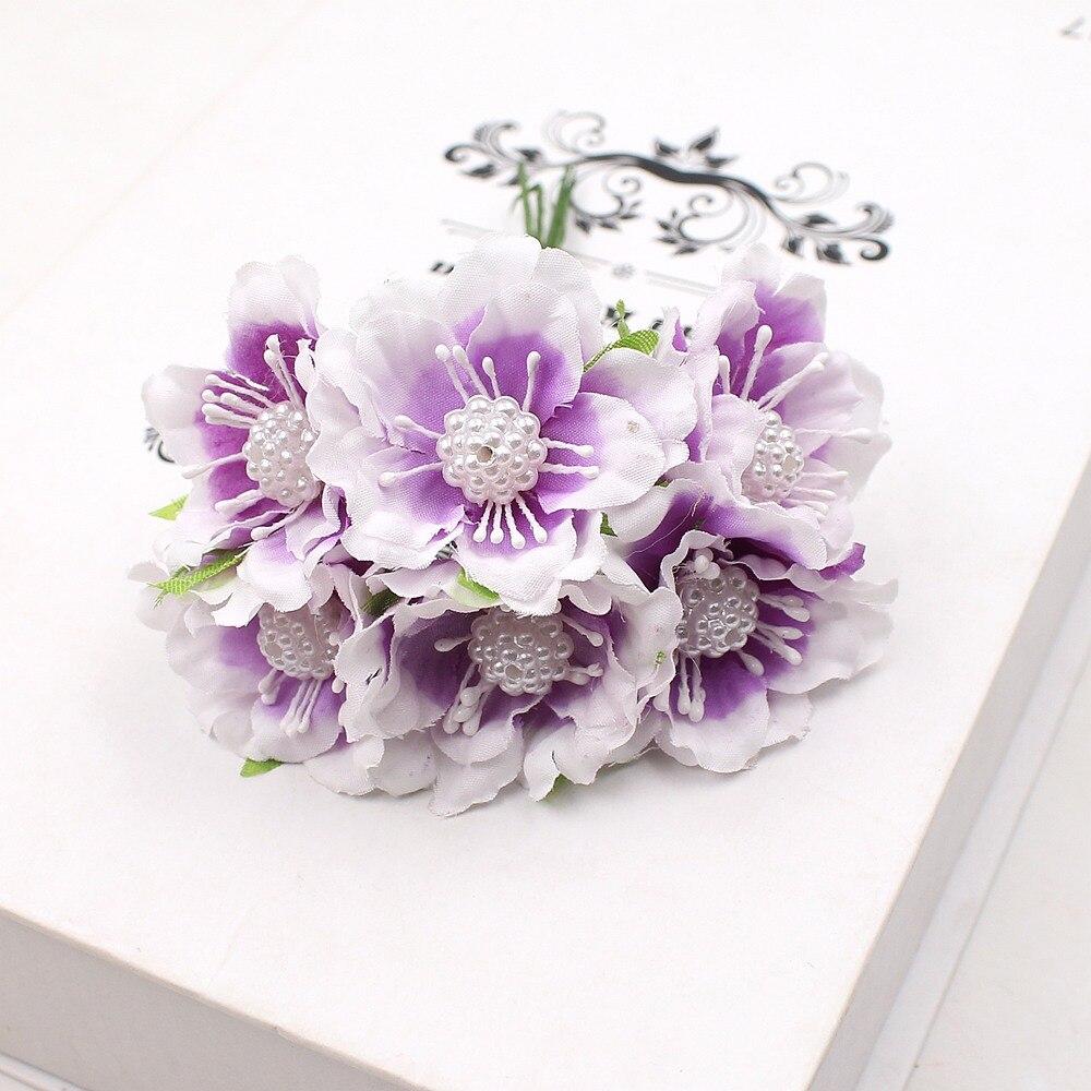 6pcs Silk Chrysanthemum Pearl Daisy Bouquet Artificial Flower
