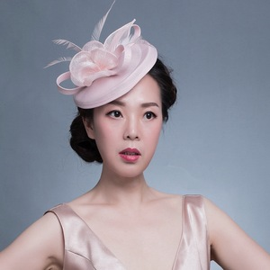 Image 3 - GEMVIE Pink Wedding Holiday Mesh Sinamay Fascinator Hat For Women Feather Flower Party Church Tea Derby Fedora Pillbox Hats