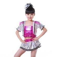 Детские костюмы для джазовых танцев, расшитые блестками танцевальные костюмы для сальсы, хип-хоп танцев для девочек, костюмы для современных танцев, одежда для sal