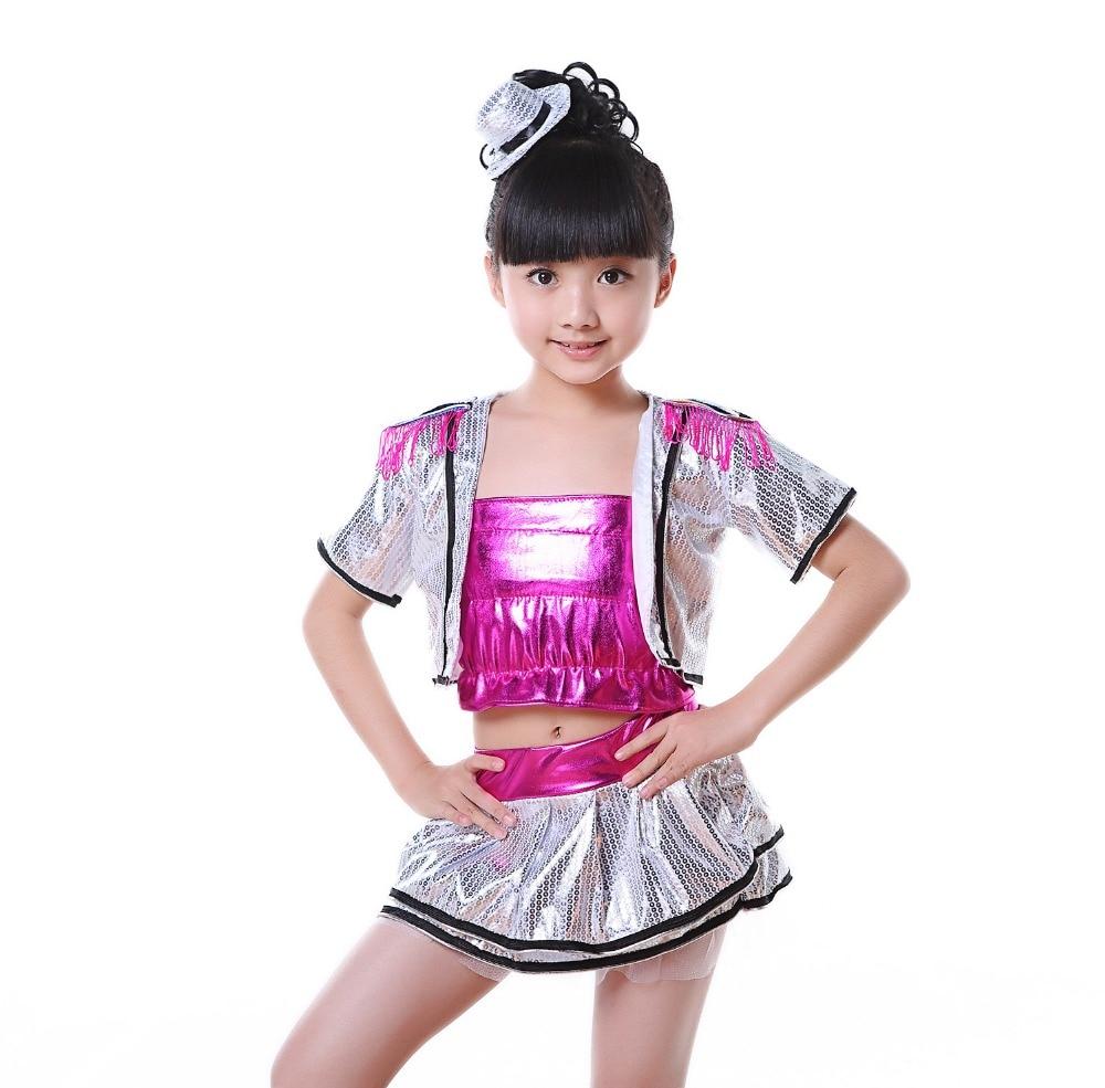 2017 barn jazz dans kostymer för barn sequin salsa hip hop dans kostymer för tjejer samtida dans kostymer kläder för sal