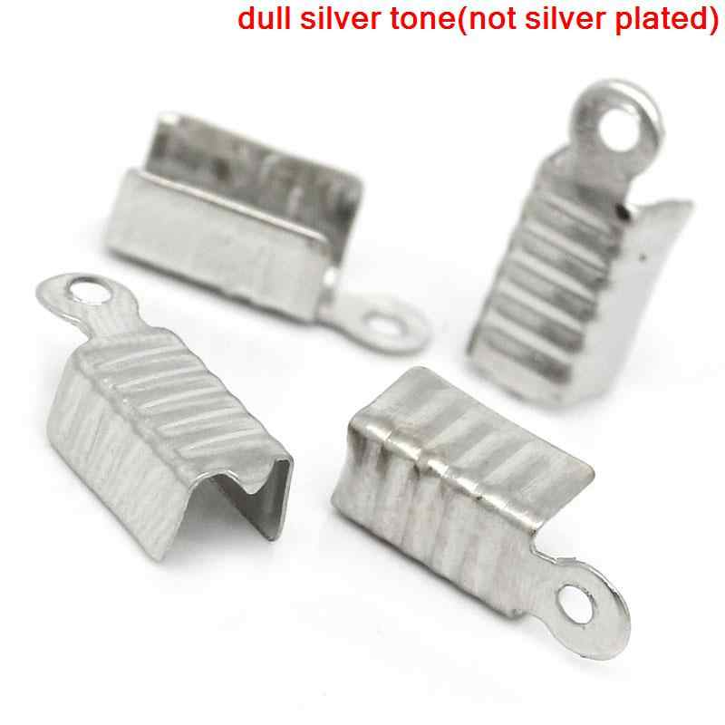 "Zinc metal alloy Necklace Cord End Tips Rectangle Antique Silver 12mm( 4/8"") x 5mm( 2/8""), 50 PCs new"