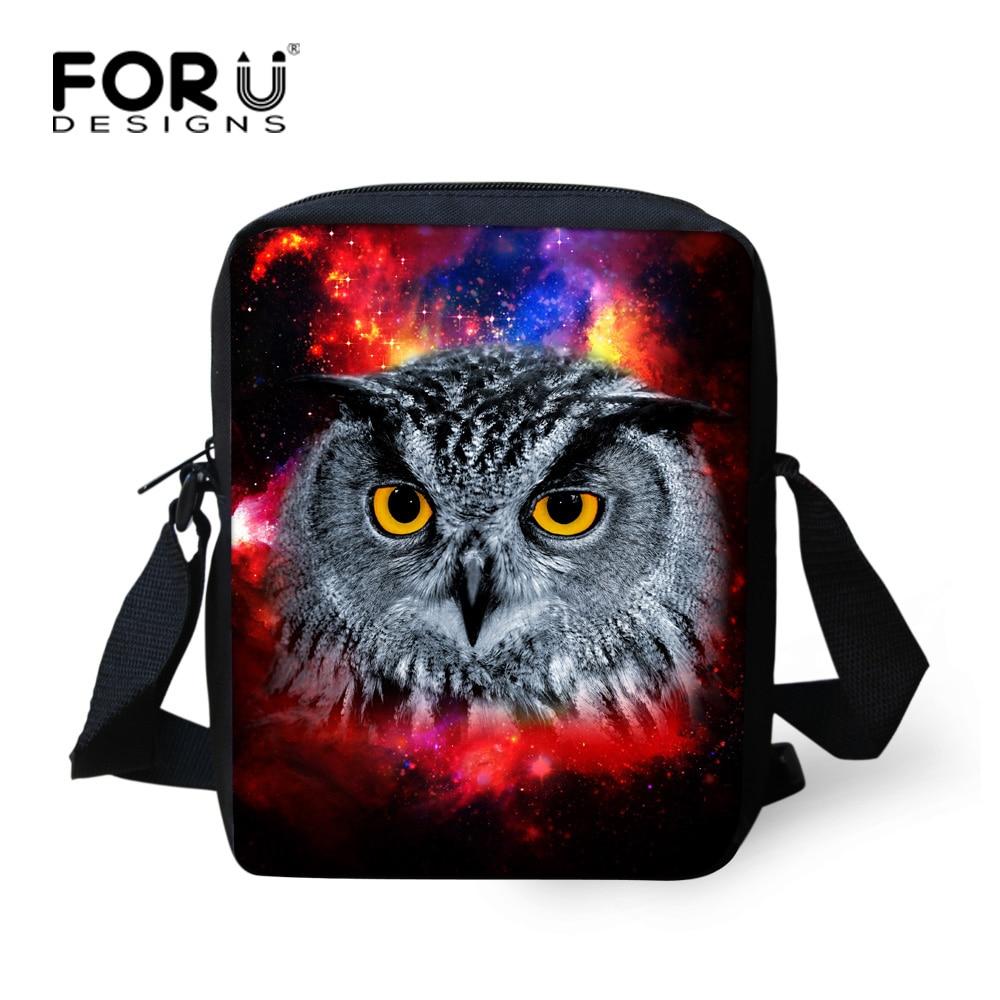 FORUDESIGNS Cool Owl Messenger Bags for Men Mini Galaxy Star Eagle Crossbody Bags Casual Small Travel Purse Handbag Polyester