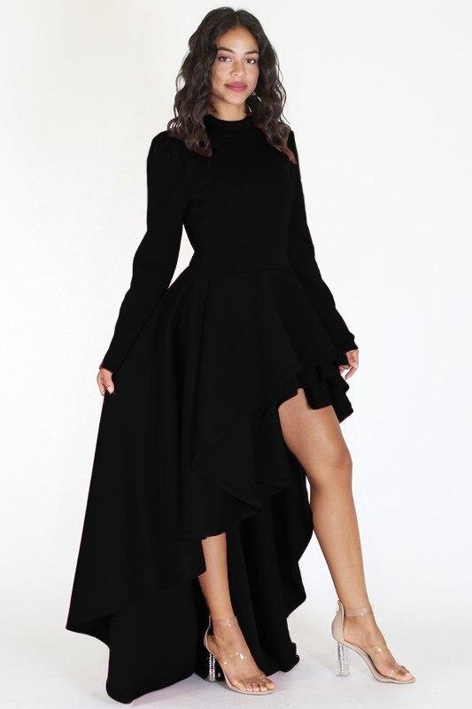 New in Woman Spring Fashion Black/White/Red/Navy Ruffles Hi-lo Dress Plus Size Long Sleeve Back Zipped Peplum Dresses M-XXXL