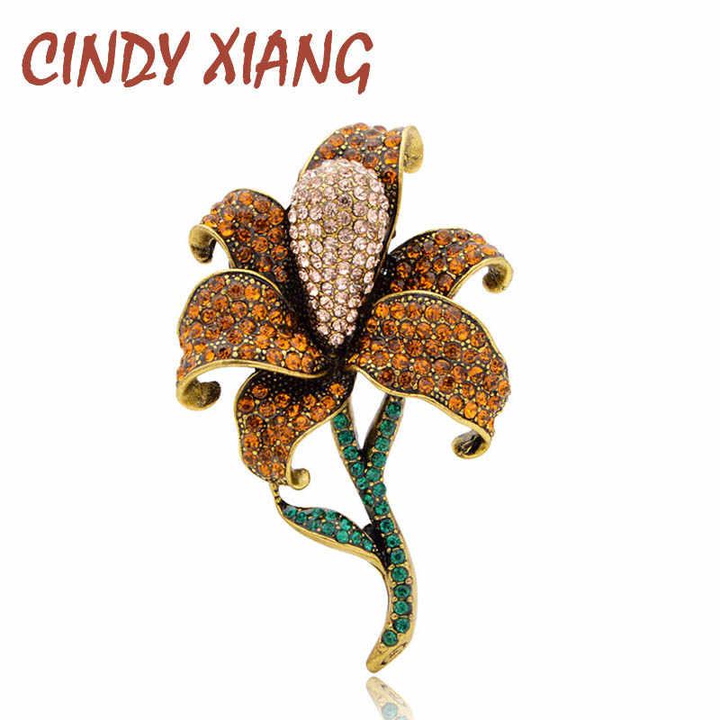 Cindy Xiang Baru Rhinestone Besar Bunga Bros untuk Wanita Elegan Vintage Tanaman Pin Warna Kuning Pernikahan Bros Tinggi Qaulity