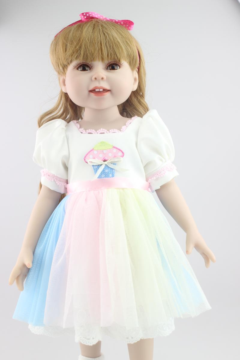 ФОТО 18Inch Doll American Girl With Long Curly Hair in One-Piece Summer Dress Lifelike Full Vinyl Baby Doll As  Girls Gift Brinquedos