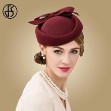 0e750fad47216 FS British Style Wine Red Pillbox Hat For Women Vintage 100% Wool Fedora  Wedding Fascinators