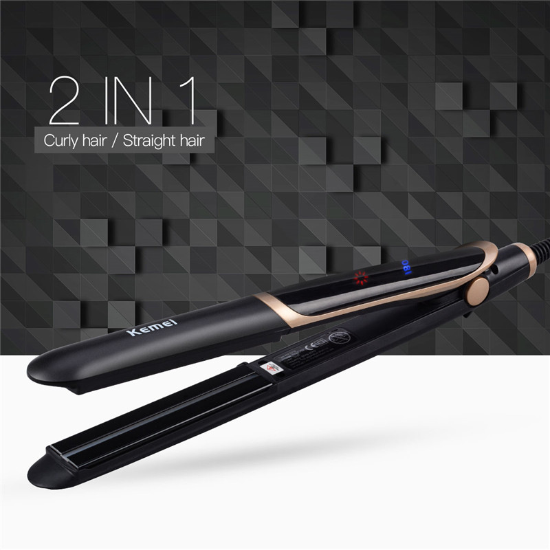 Kemei 2 in 1 Tourmaline Ceramic Far-Infrared Hair Straightener Curler Curling Straightening Wide Plate Flat Iron Styling Tools mch flexible 3d floating ceramic wide plates flat iron far infrared hair straightener straightening curling with negative ions