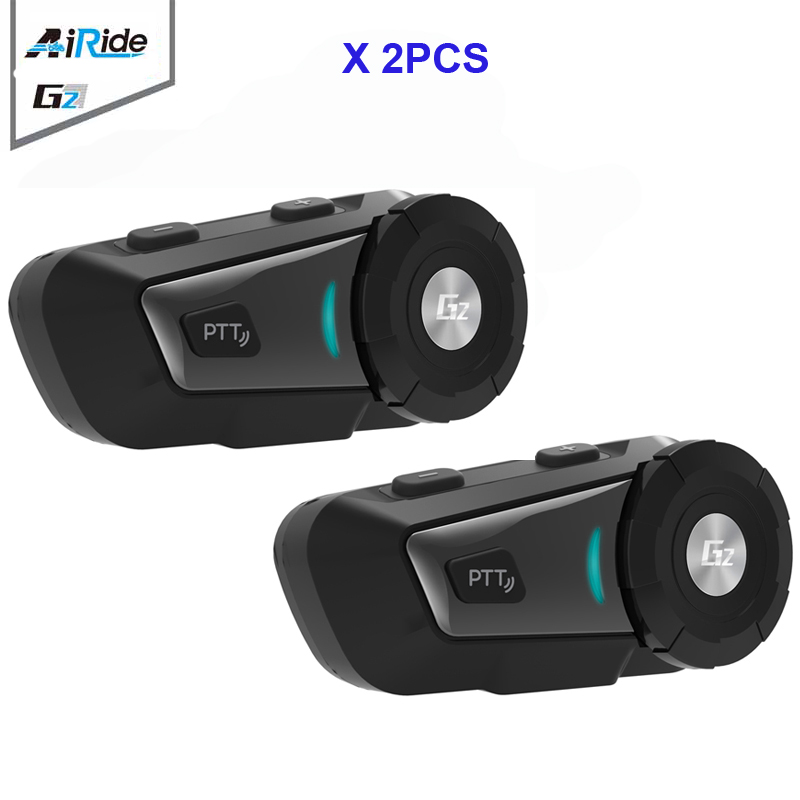 2PCS AiRide G2 Motorcycle Bluetooth Intercom Headset 500m MP3 FM for Siri Command For Full Face