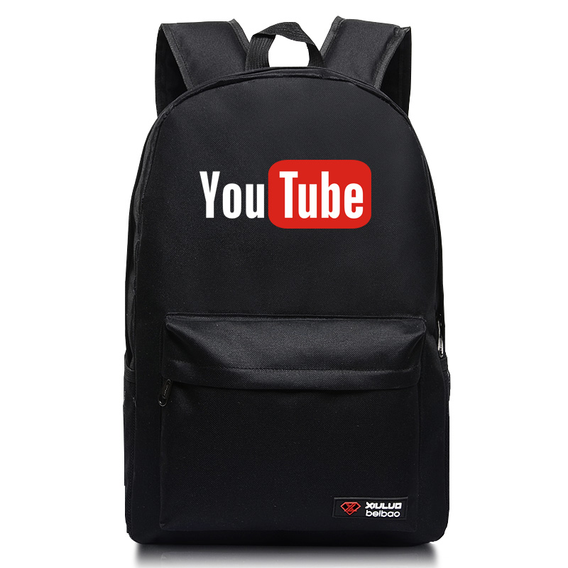 2017 Candy colors Backpacks for teenagers Youtube Logo Printed school bags Funny backpacks mochila men and women unisex student