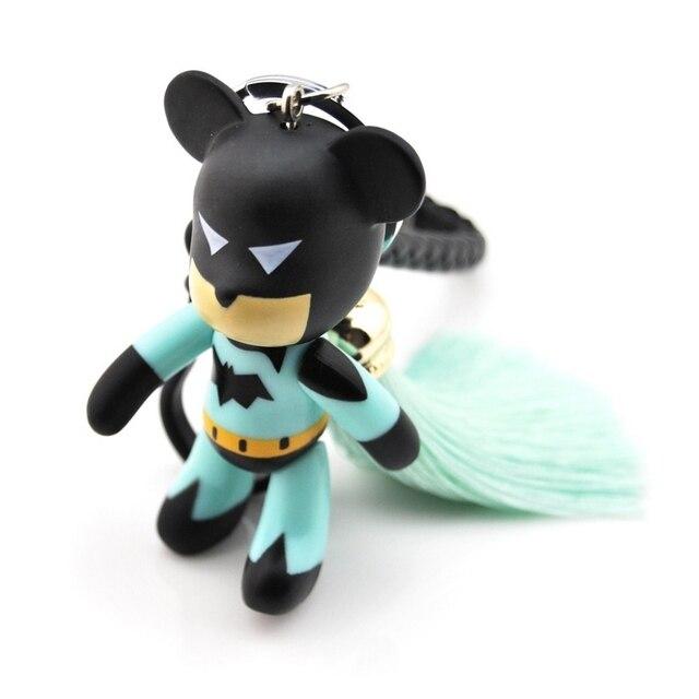 Moda Nova de Couro Dos Homens Do Homem Aranha Batman Borla Urso Keychain Trinket Lembranças Chaveiro No Carro Sacos de Presente da Jóia Das Mulheres