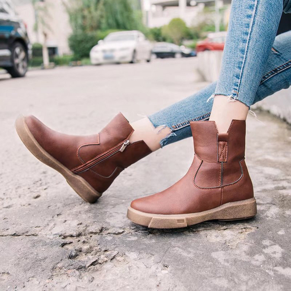 boots women Punk Style Leather boots women Flat zip Martin boots ankle boots para mulheres botas