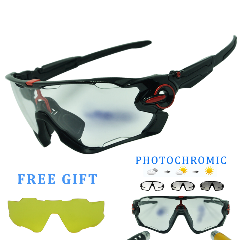 4 Lens Outdoor Sports Cycling Glasses Photochromic Polarized Men Cycling Eyewear Sunglasses with Myopia Frame two tone frame round lens sunglasses