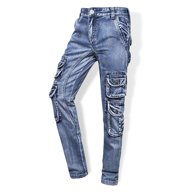 1381eed041 Moda de la calle de los hombres Vaqueros casual Jogger Pantalones Bolsillo  grande Pantalones cargo hombres