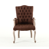 European Style Solid Wood Armchair American Single Coffee Armchairs Home Cloth Desk Study Dining Chair
