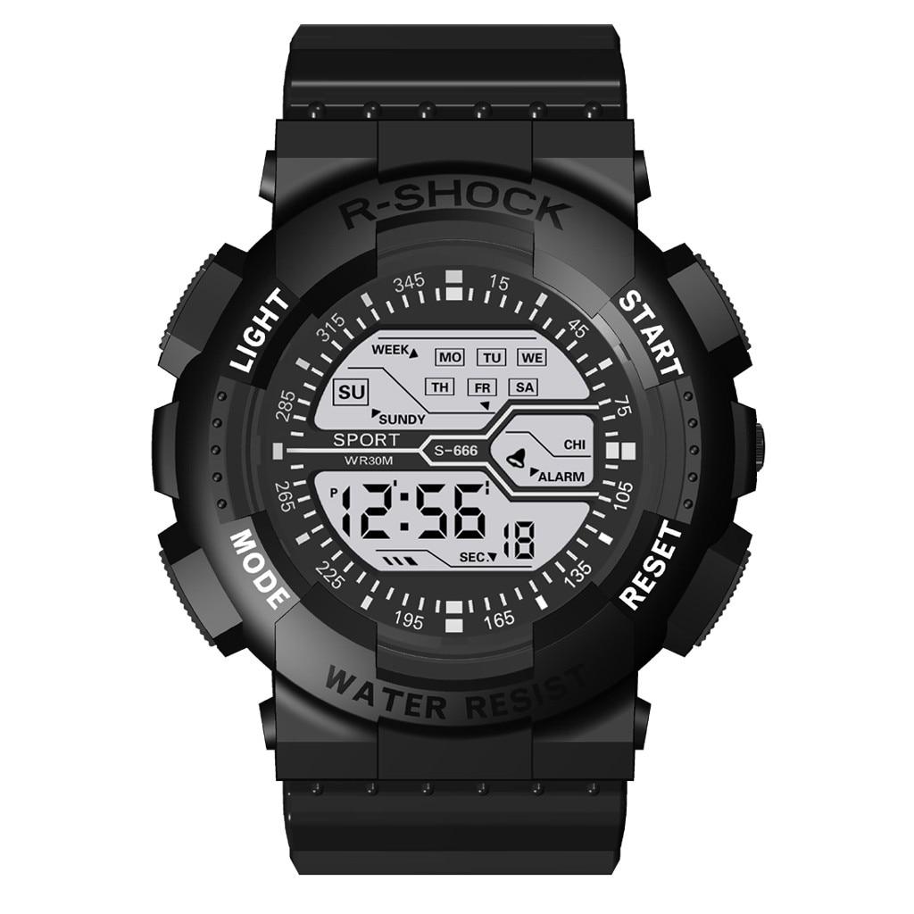 HONHX Fashion Sports Men Digital Watch Seven Colors Colorful Luminous Multi Function Electronic Mens Clock Wrist Watches Reloj