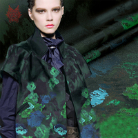 American Style Lovely Green Elves Positioning Jacquard Brocade Fabric Apparel For Dress Coat Tela Tecidos Stoffen
