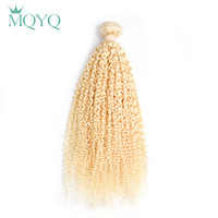 MQYQ Russian Remy Human Hair Weft 1PC #613 Honey Blonde Human Hair Weave Hair Bundles Curly Hair Extensions