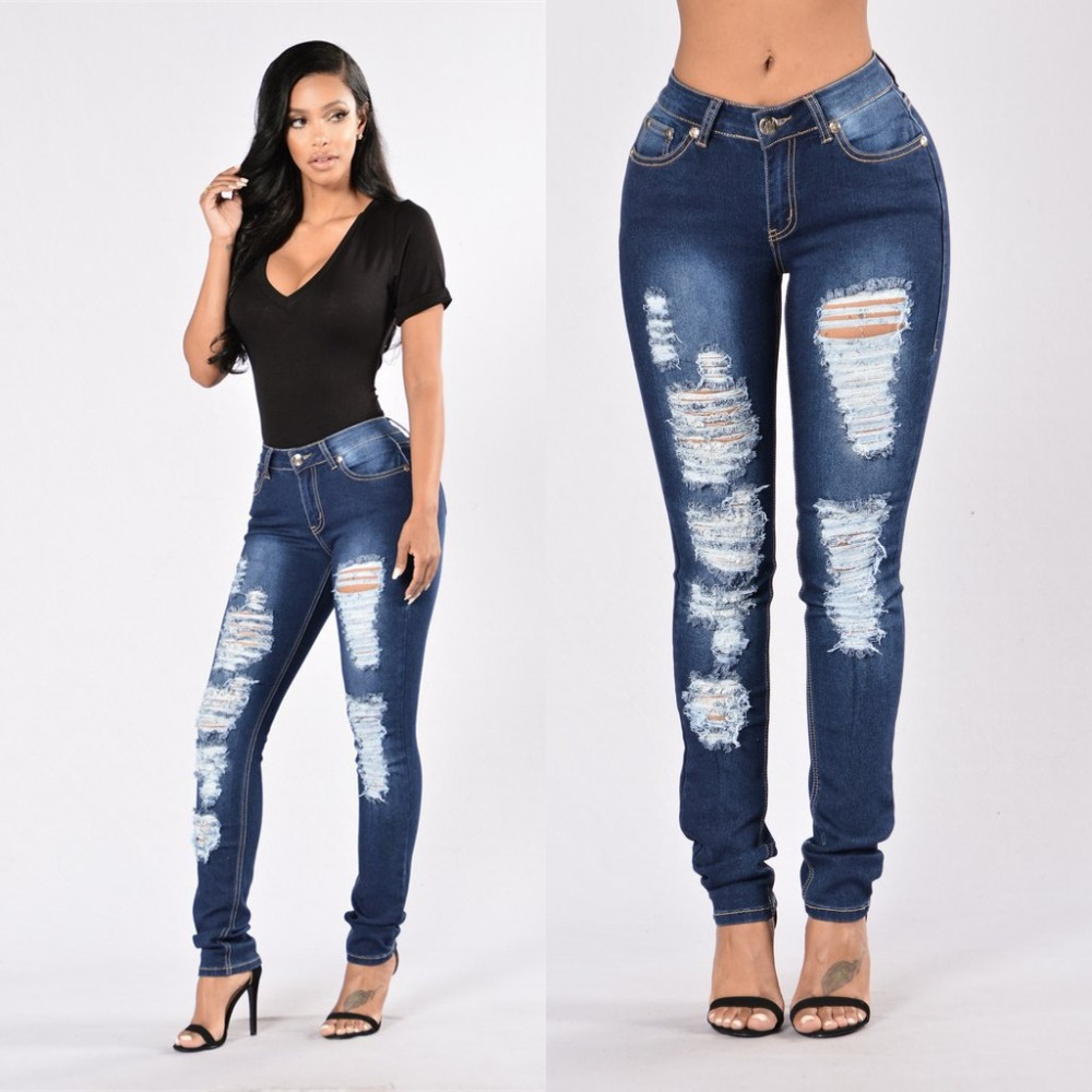 QA839 Women new hole ripped jeans elastic slim deep blue denim pants female middle waist push up jeans