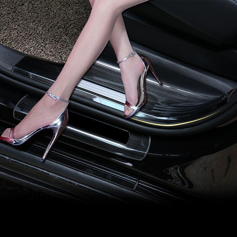 Pour VOLVO XC90 2015 2016 2017 2018 2019 4 pièces en acier inoxydable intérieur voiture seuil de porte seuil étape protecteur couverture garniture