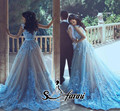2017 Apliques de Luz Cielo Azul Largo Prom Vestidos Con Cuello En V Barrer de Tren Formal Celebrity Vestidos de Noche Modesto Vestido de Fiesta