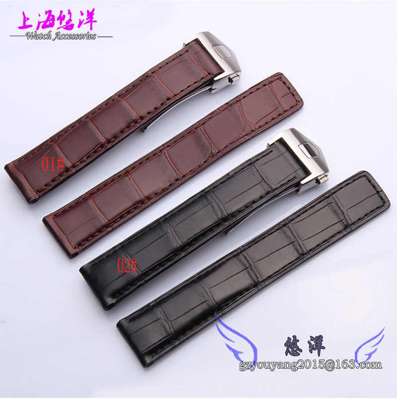 Crocodile leather bracelet Adaptation of Morocco Card laila dark brown leather strap 19 20 mm