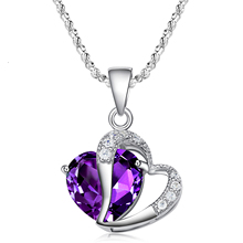 Women's Necklace Zircon Crystal Heart Jewelry