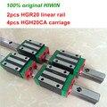 100% Оригинал HIWIN 2 шт. HGR20 200 мм 300 мм 400 мм 500 мм 600 мм 700 мм 800 мм 1000 мм линейная направляющая + 4 шт. HGH20CA HIWIN карета