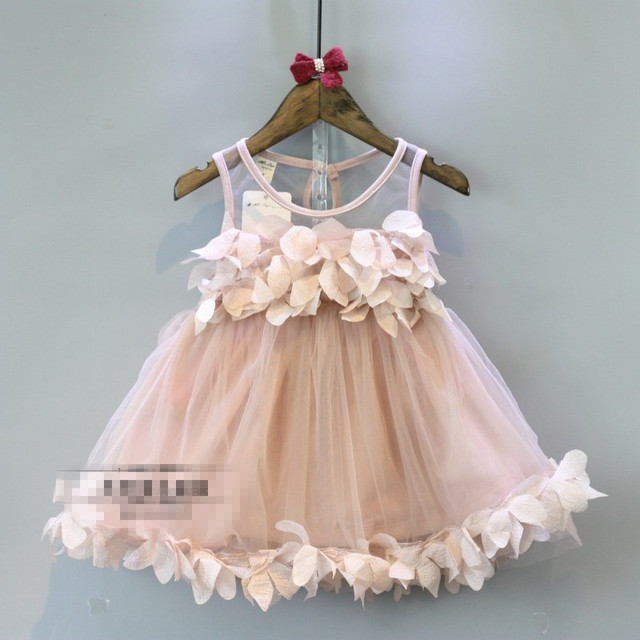 Girls Dresses Summer 2016 Sleeveless Pink Lace Flower Girls Party Dresses New Arrival Cute Baby Princess Dress Vestido For 2-7Y