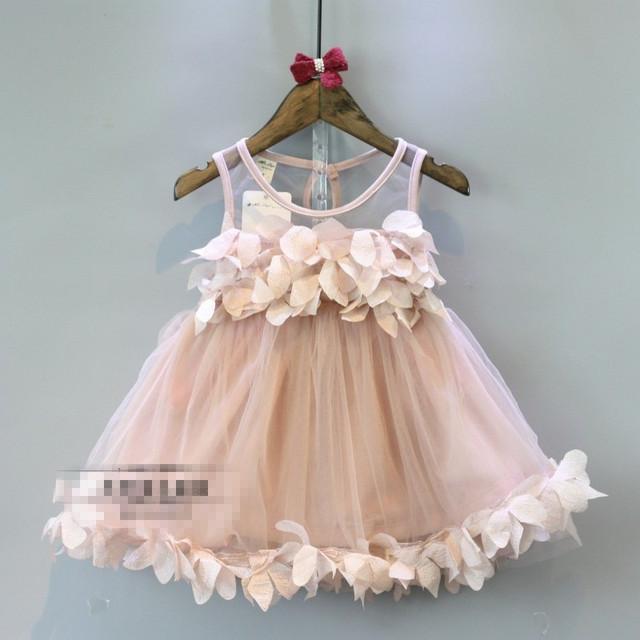 Niñas Vestidos de Verano 2016 Sin Mangas de Encaje de Color Rosa Muchachas de La Flor Vestidos de Fiesta Nueva Llegada Linda Del Bebé de Princesa Dress Vestido De 2-7Y