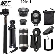 Sale YIFUTE Mobile Phone Camera Lens Kits 8X Telescope + 3 in 1 Fish Eye Lens + Extendable Handheld Selfie Stick + Bluetooth Shutter