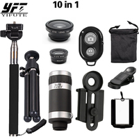YIFUTE Mobile Phone Camera Lens Kits 8X Telescope 3 In 1 Fish Eye Lens Extendable Handheld