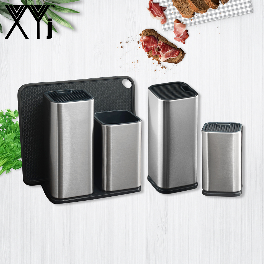 XYj Stainless Steel Knife Block Stand 6'' 8'' Double Knife Holder Cutting Board Cooking Tools Acceossory Restaurant Helper