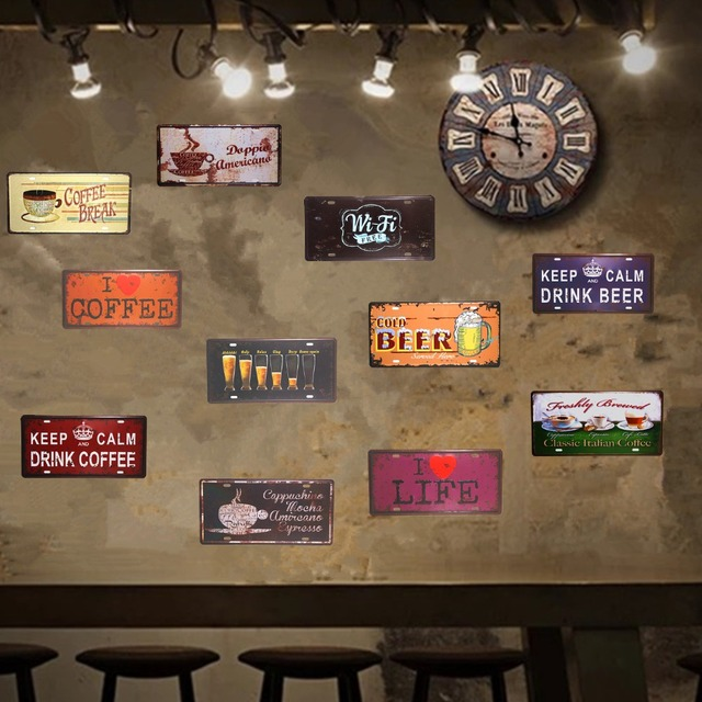 Vintage Tin sign Car License Plates Drinking Beer Restaurant Coffee Cafe Bar Pub Wall Stickers Decor & Vintage Tin sign Car License Plates Drinking Beer Restaurant Coffee ...
