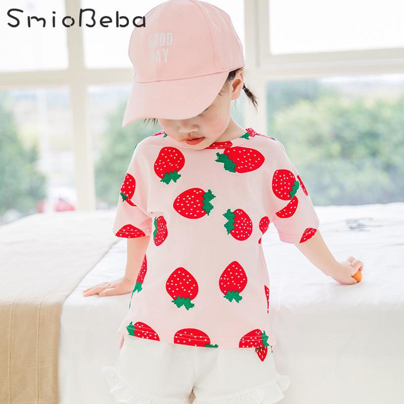 Tank-Shirt Short-Sleeve Girls Tops Korean-Flower Kids Cotton Summer with Boys Round-Collar