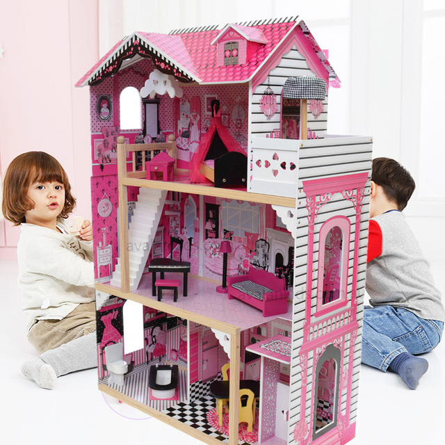 80 42 120cm Big Size Wooden Doll House Pretend Toy Kids Pink Doll