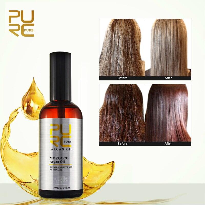 PURC huile d'argan marocaine pour le soin des cheveux et protège les cheveux endommagés pour l'humidité des cheveux 100ml produits de salon de coiffure 11.11 PURE