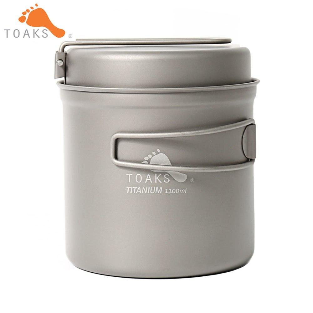 TOAKS CKW-1100 Titane Camping En Plein Air Pan Randonnée Randonnée Ustensiles de Cuisine Pique-Nique Bowl Pot Pan Set avec Plié poignée