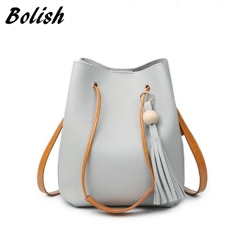 Bolish Fashion Casual Tassel Women Bag Litchi PU Leather Women Top-handle Bag Single Shoulder Bag Women Crossbody Bag