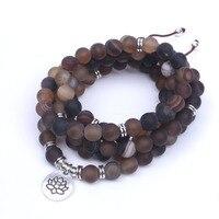 Nâu onyx Frosted yoga necklace đá Tự Nhiên với OM, Hoa Sen, phật Sự Quyến Rũ vòng cổ cho phụ nữ 108 mala necklace dropshipping