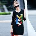 Высокое качество черный выстрел взлетно-посадочной полосы dress для женщин 2016 осень и зима В Европе мода впп люксовый бренд бисероплетение блестками платья