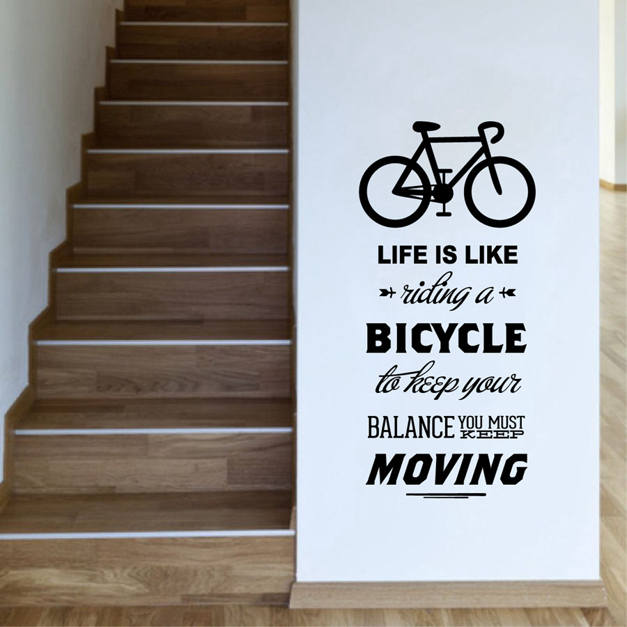 Life is like riding a bicycle quote bike wall sticker cycling life is like riding a bicycle quote bike wall sticker cycling words vinyl bike wall art decal room sticker home decoration in wall stickers from home amipublicfo Image collections