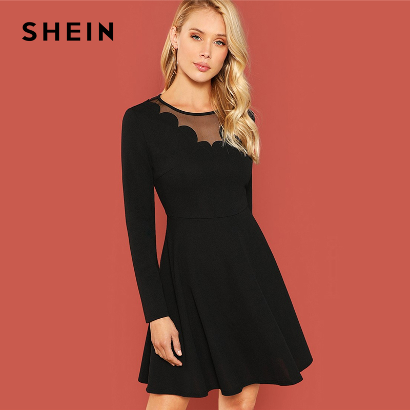2ab2b29b4e SHEIN Black Contrast Mesh Long Sleeve Dress Elegant Fit and Flare Solid  Dresses Women Autumn Plain