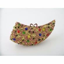 HORN farbe-Eine Kristall Dame fashion Brautpartei Nacht hohlen Metall Evening clutch bag handtasche fall