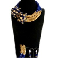 4uJewelry Choker Necklace Set Ethnic Jewelry Set African Gold Royal Blue Luxury Big Design Beaded Jewelry Sets For Women 2018