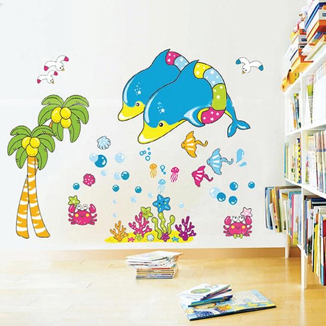 Dolphins Schwimmen Ozean Wandaufkleber Abnehmbare Glas Bad Fliesen  Badezimmer Wandaufkleber Dekorative Aufkleber Kindergarten