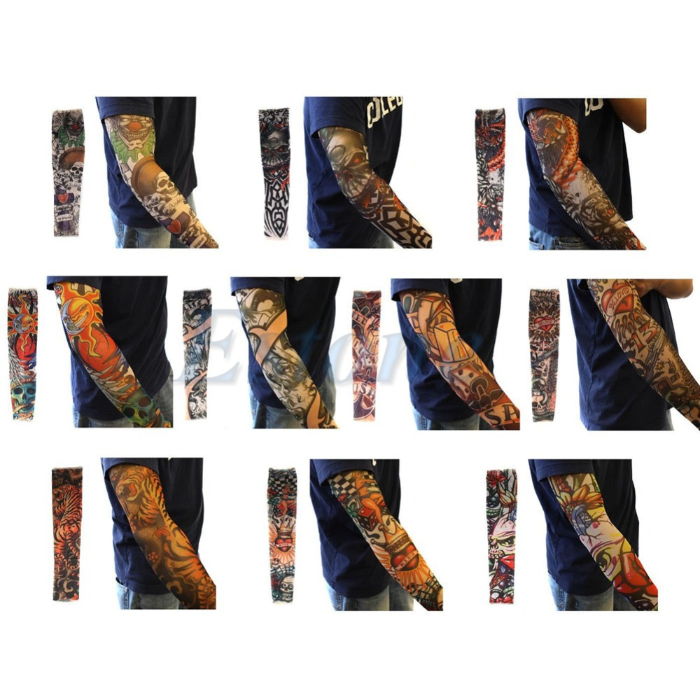 FREE SHIP 14 designs Temporary Fake Slip on Tattoos Arm Sleeves sleevelet 1pc